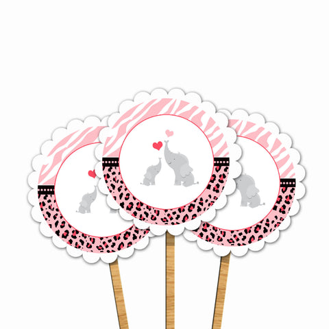 Elephant Baby Shower Cupcake Toppers Pink Zebra Leopard