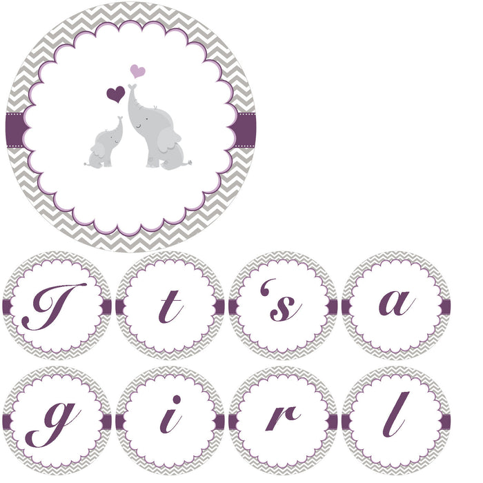 Elephant Baby Shower Banner Purple