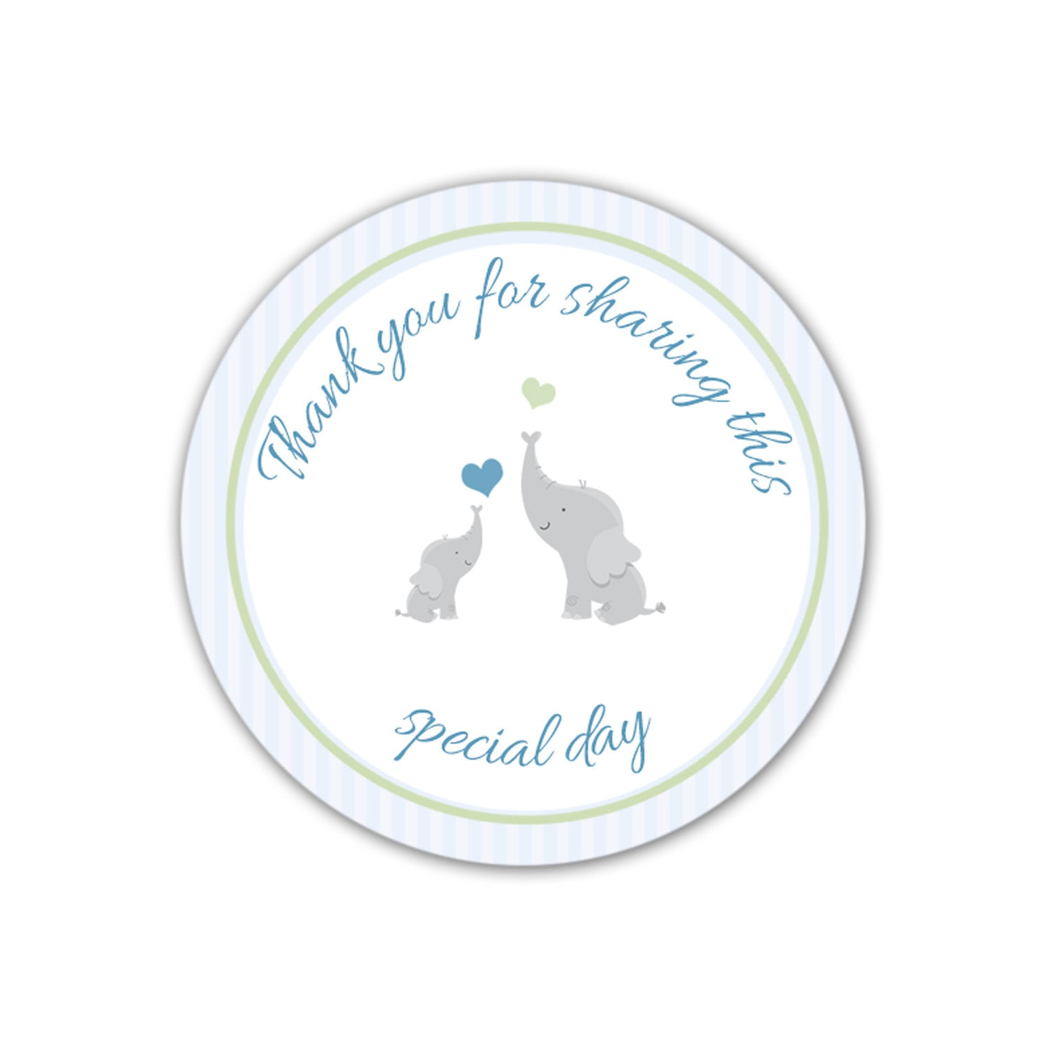 INSTANT DOWNLOAD Blue Stripes Elephant Baby Shower Thank You Tags Party  Labels   Party Favors Baby Shower Favors Baby Shower Tags Party Tags