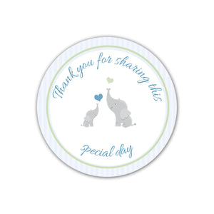 Elephant Favor Label Baby Shower Blue Stripes Printable