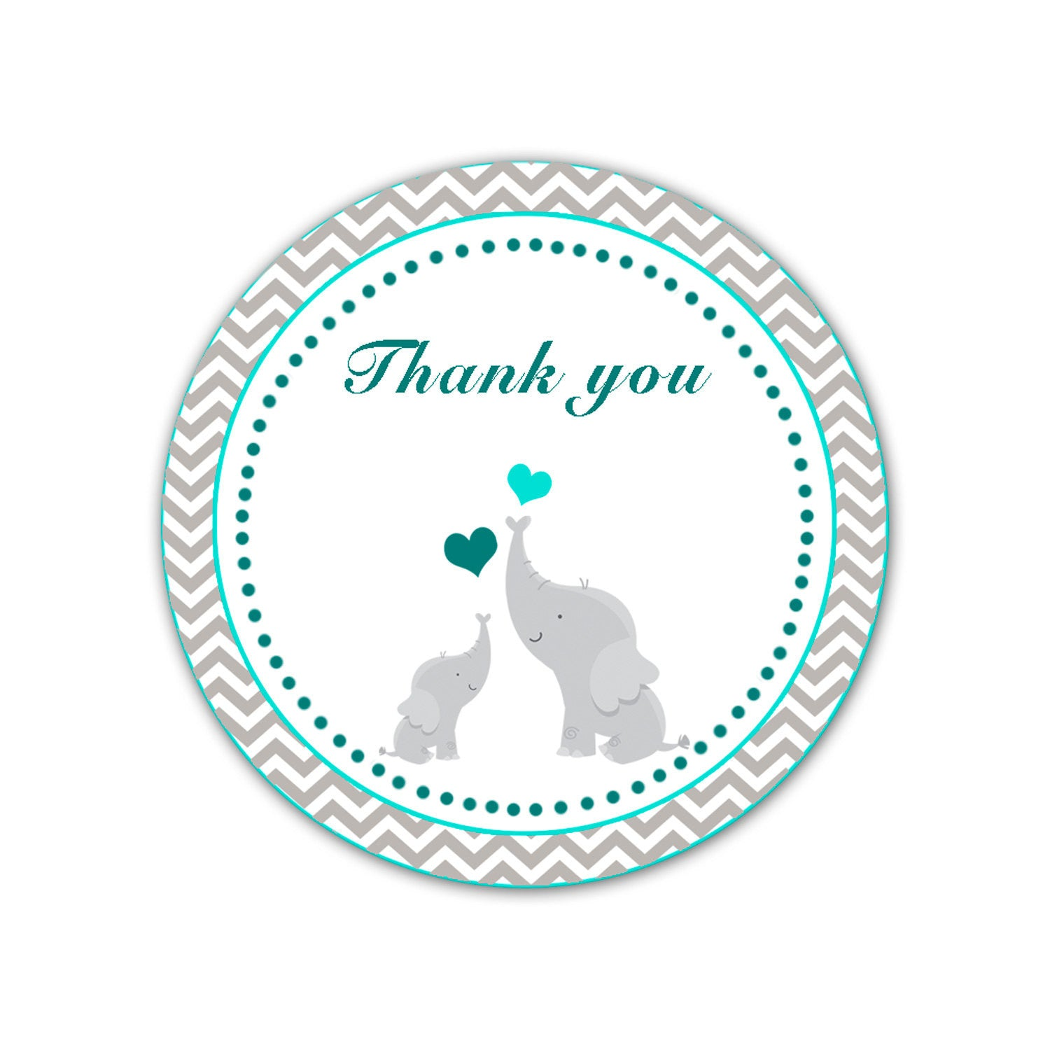 Elephant Thank You Labels Baby Shower Thank You Tag Teal