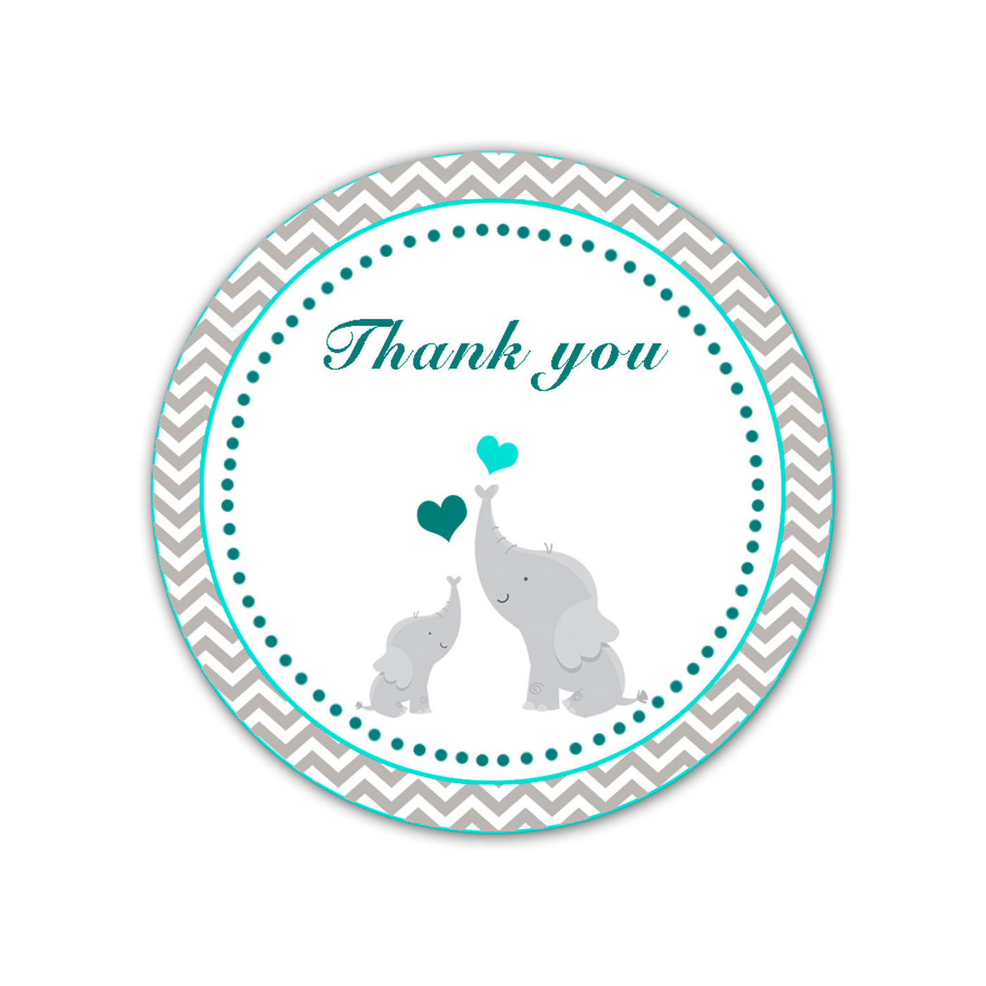 Elephant Thank You Labels Baby Shower Thank You Tag Teal Pink The Cat