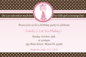 Giraffe Invitation Pink Brown Girl Birthday Baby Shower