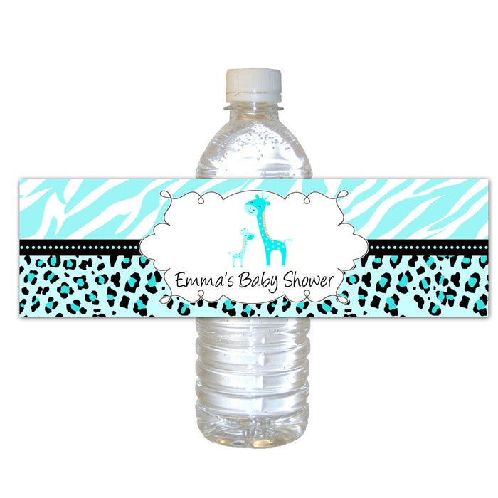 Turquoise Giraffe Baby Shower Bottle Label