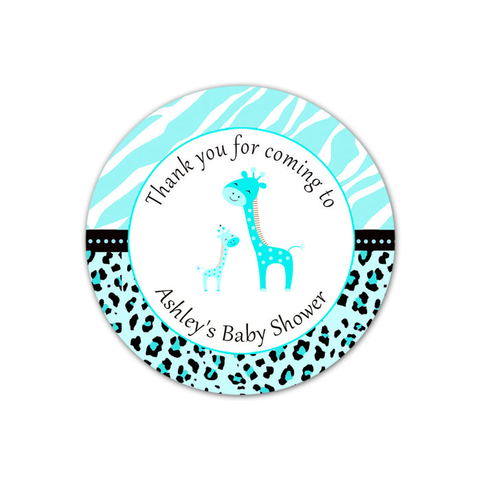 Turquoise Giraffe Baby Shower Thank You Tag Label Sticker