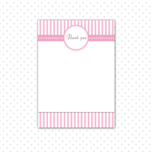 Pink Stripes Thank You Card Note Baby Girl Shower Printable
