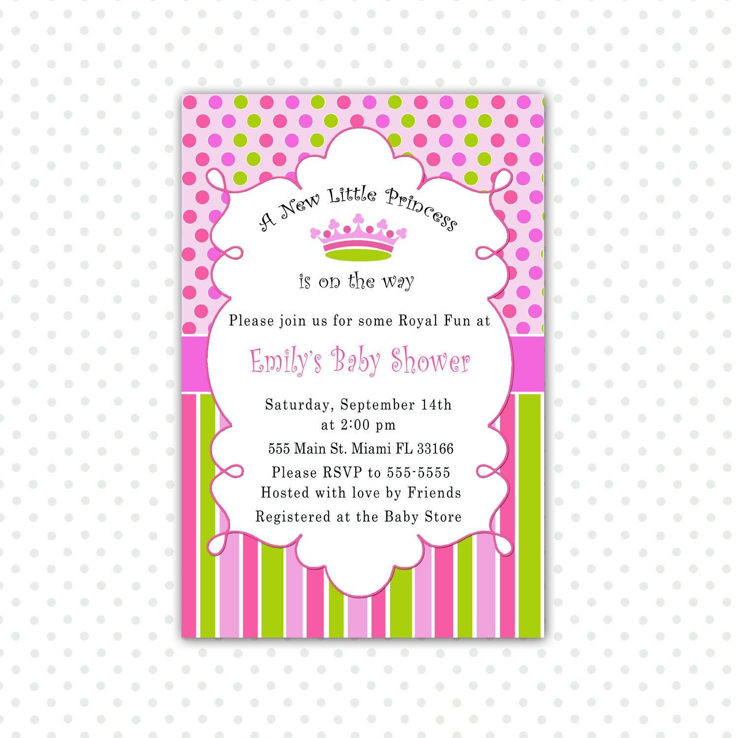 New Little Princess Baby Shower Invitation Card Pink Green – Pink ...