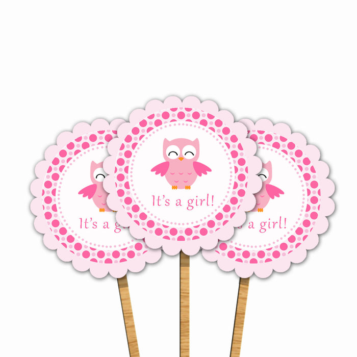 Pink Owl Baby Girl Shower Cupcake Topper Printable