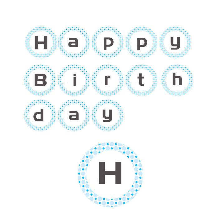 Birthday Party Banner Blue Polka Dots