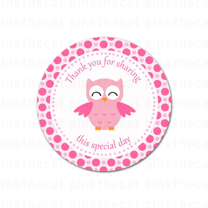 Pink Owl Birthday Baby Shower Favor Label Tag Printable