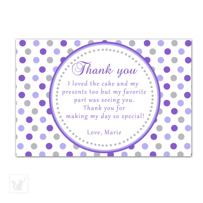 Purple Grey Polka Dots Thank You Card Note Birthday Baby Shower