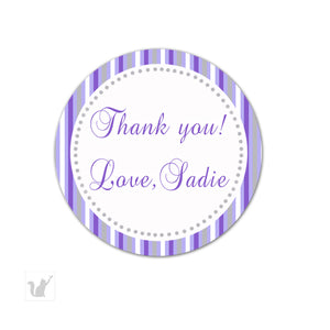 Grey Purple Stripes Thank You Tag Label Sticker Birthday Bridal Shower