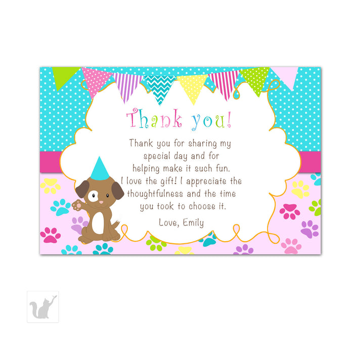 Puppy Party Thank You Card Girl Birthday Pawty Pink Turquoise