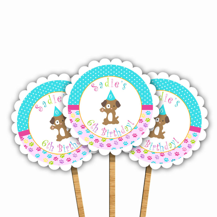 Puppy Birthday Party Cupcake Toppers