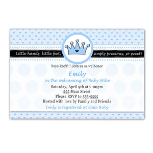 prince blue baby shower invitation