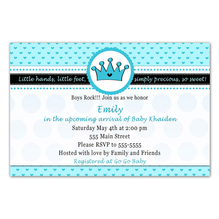 Prince Invitation Baby Boy Shower Birthday Turquoise Hearts