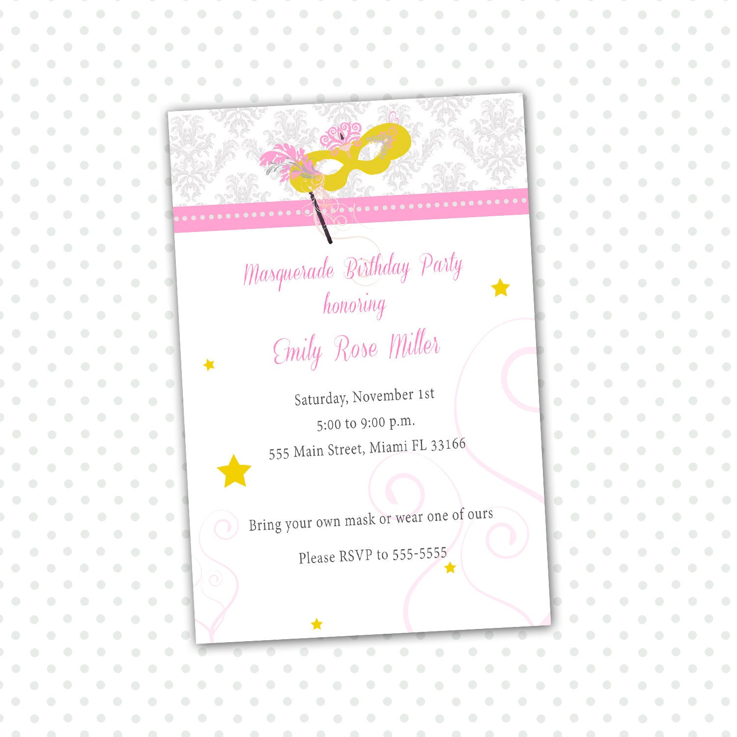 Masquerade Invitation Adult Birthday Party – Pink The Cat
