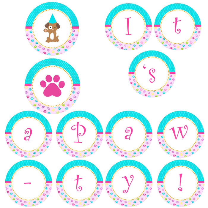 Its a Pawty Banner Turquoise Pink