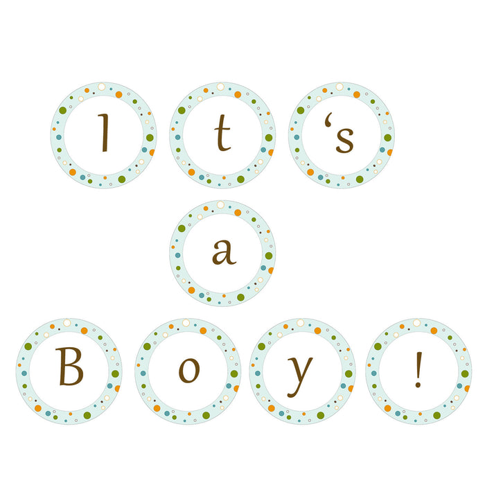 Baby Shower Banner Blue Green Orange Its A Boy