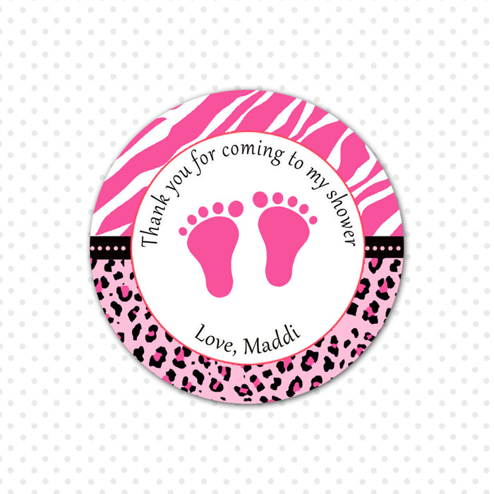 Hot Pink Zebra Baby Girl Shower Thank You Tag Label Sticker