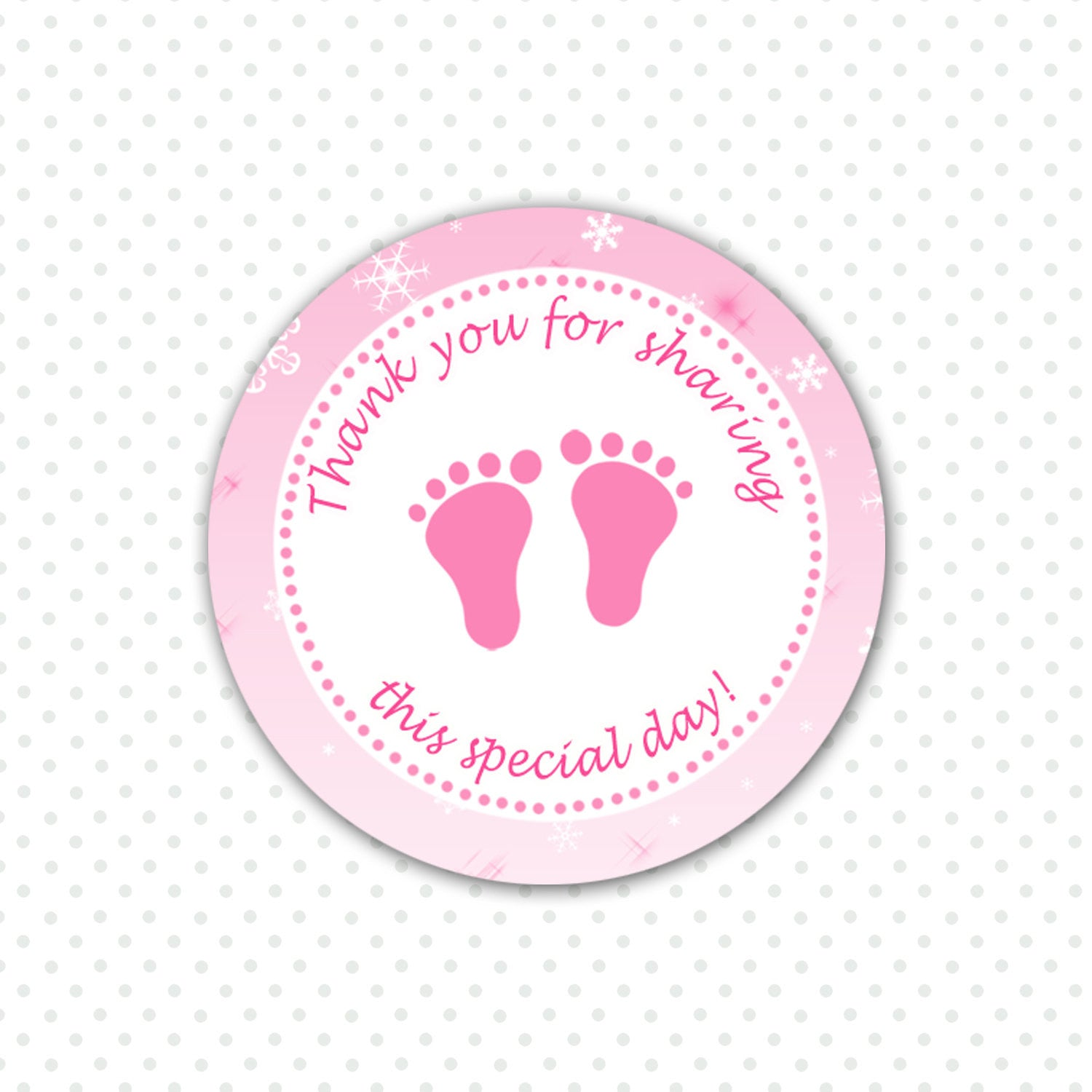 Pink Baby Feet Winter Baby Girl Shower Thank You Tag Labels - Favor ...