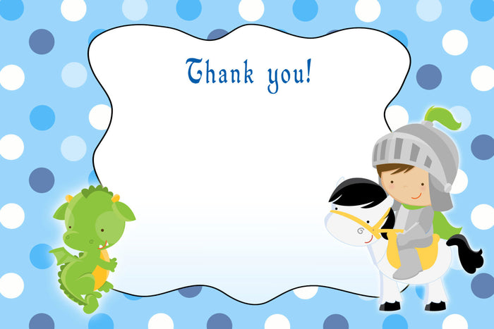 Knight Dragon Thank You Card Birthday Baby Shower Printable