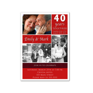 ruby red wedding anniversary invitation