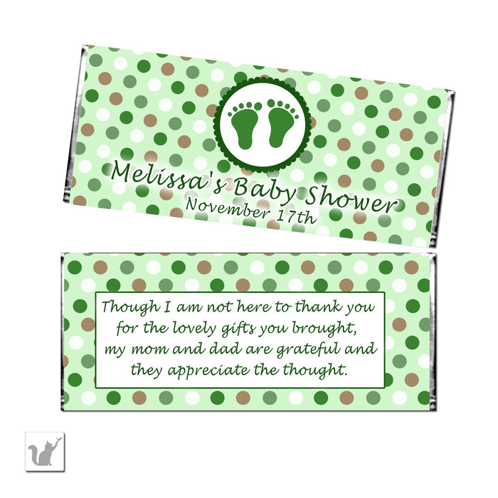 Green Brown Unisex Baby Shower Candy Label Wrapper