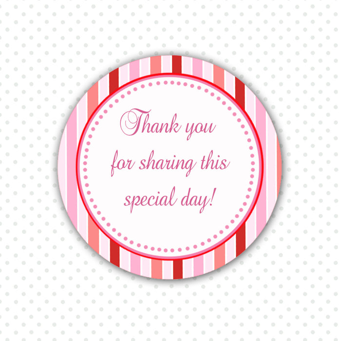 Pink Red Stripes Party Thank You Sticker - Baby Girl Shower Party Favor Labels Printable Birthday Thank You Tag Party Decoration Sticker