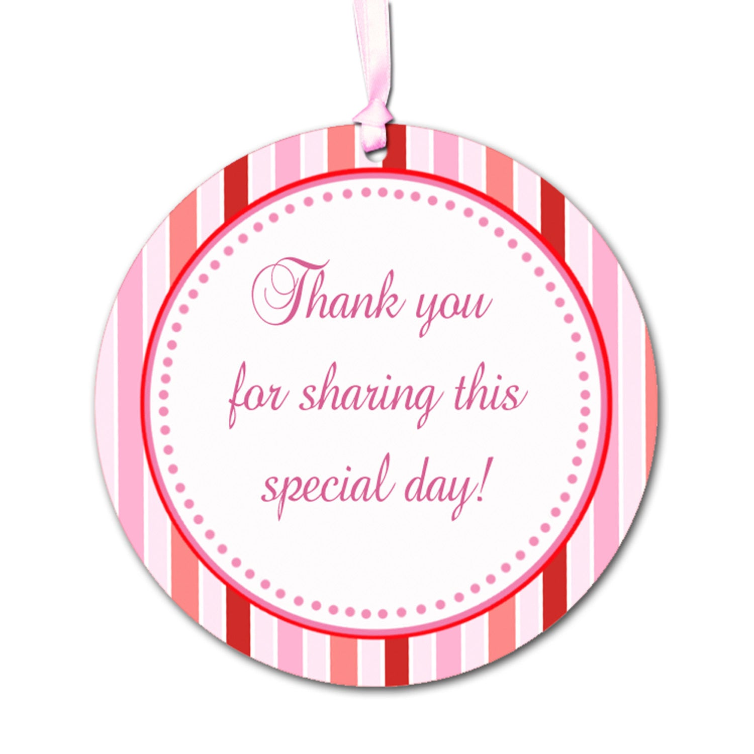 Pink Red Stripes Party Thank You Tag Baby Shower Favors Party