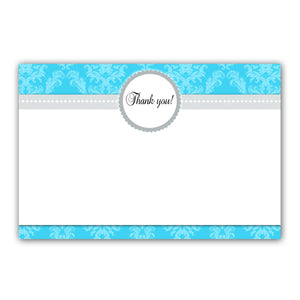 Turquoise silver damask thank you card any event printable