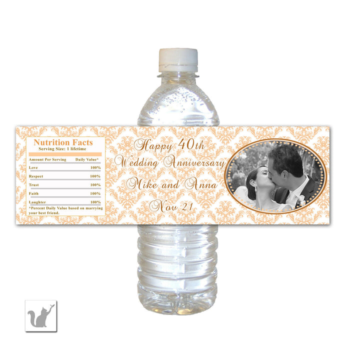 Peach Wedding Anniversary Photo Bottle Label