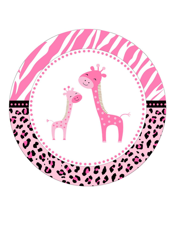 INSTANT DOWNLOAD Pink Giraffe Baby Shower Party Tag - Jungle Leopard Zebra Background Favors Baby Girl Shower Labels Birthday Party Stickers