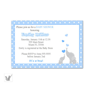 elephant blue polka dots invitation