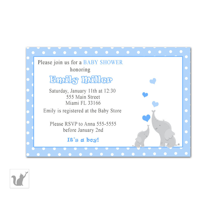 Elephant Baby Shower Invitation Blue Polka Dots