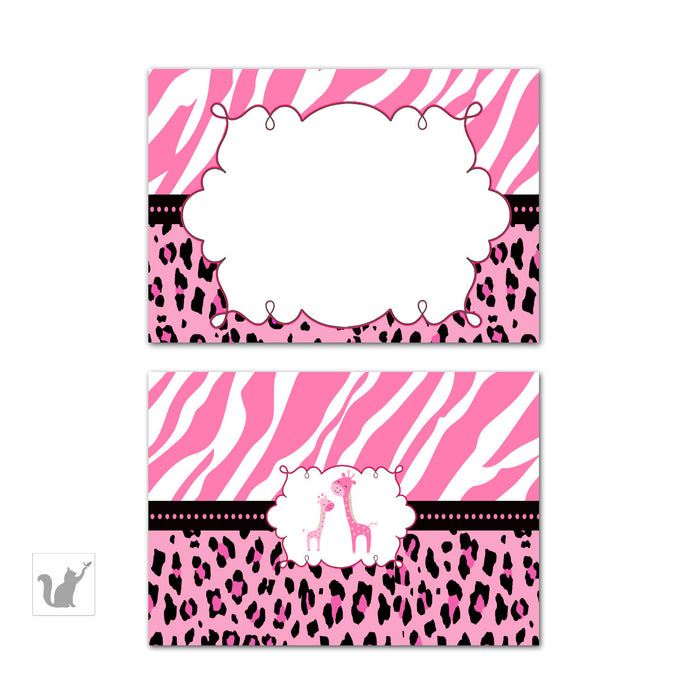 Giraffe Buffet Food Label Place Seating Name Card Birthday Pink Baby Shower