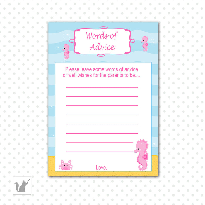 Under The Sea Baby Girl Shower Advice Card