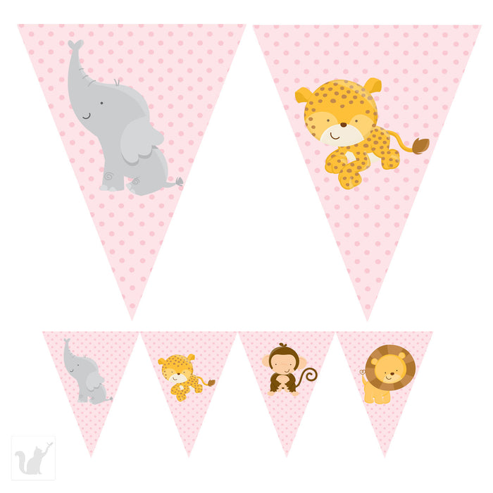 Pink Jungle Banner Birthday Baby Shower