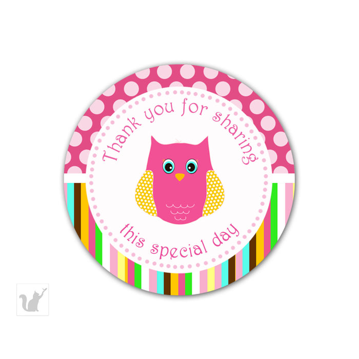 Owl Labels Owl Stickers Owl Gift Favor Tags - Birthday Party Baby Girl Shower Decoration Pink Brown Owl Cake Pop Labels INSTANT DOWNLOAD