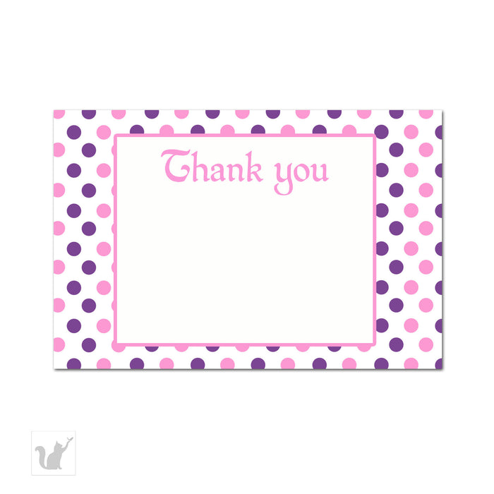 Purple Pink Polka Dots Thank You Card Note - Pastel Colors Birthday Party Baby Shower DIY Printable Card