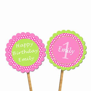 Green Mint Pink Polka Dots Birthday Cupcake Topper
