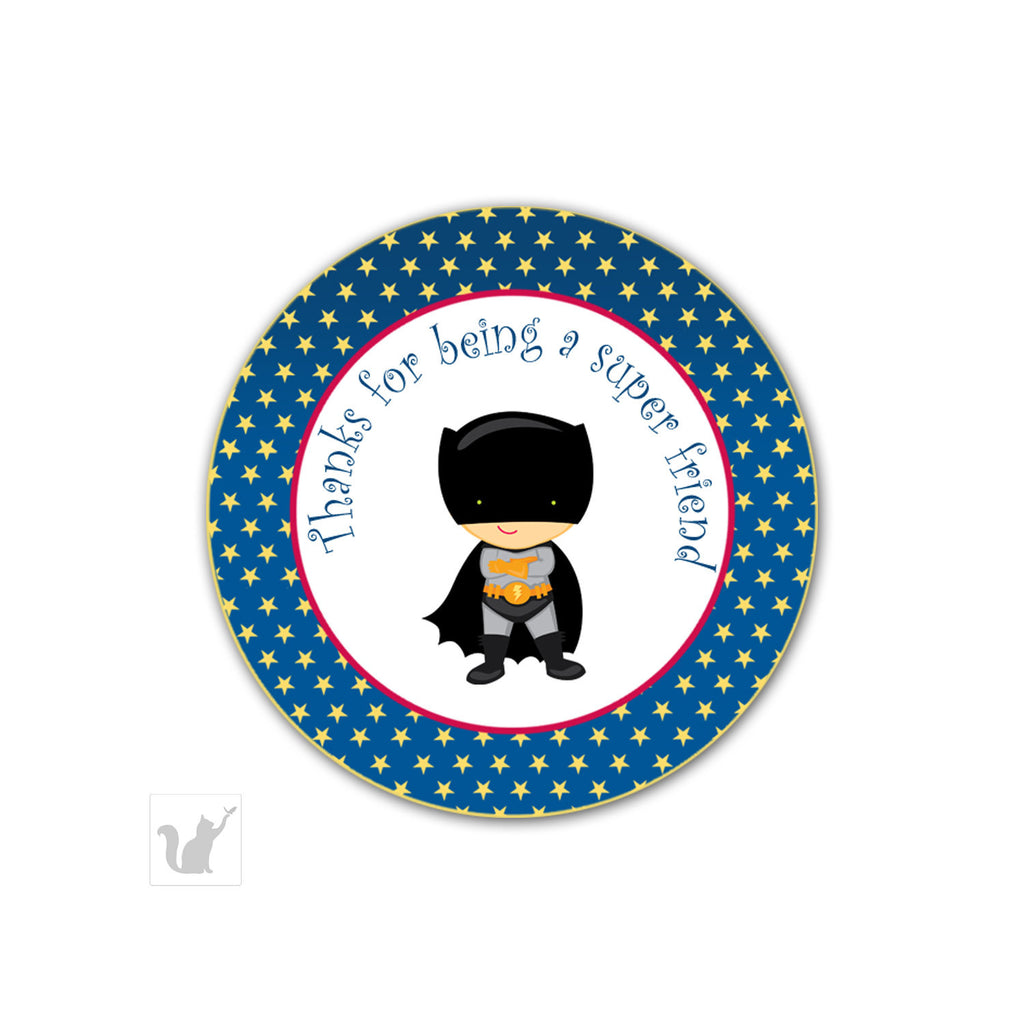 Bat Superhero Favor Label Sticker Tag Birthday Baby Boy Shower