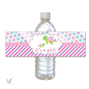 Turtle Its A Girl Baby Shower Bottle Labels Pink Printable