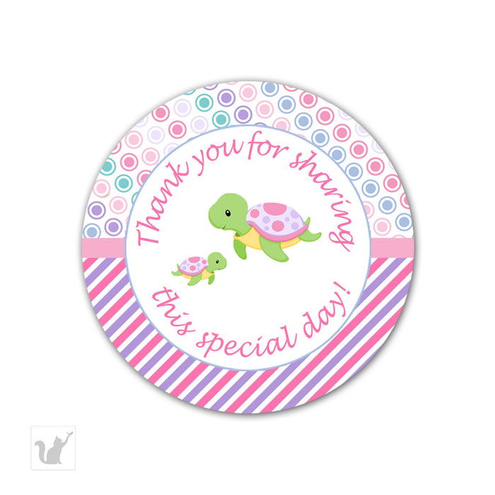 INSTANT DOWNLOAD Turtle Baby Shower Thank You Tag - Stripes Polka Dots Printable Decorations Round Party Stickers Girl Baby Shower Favors