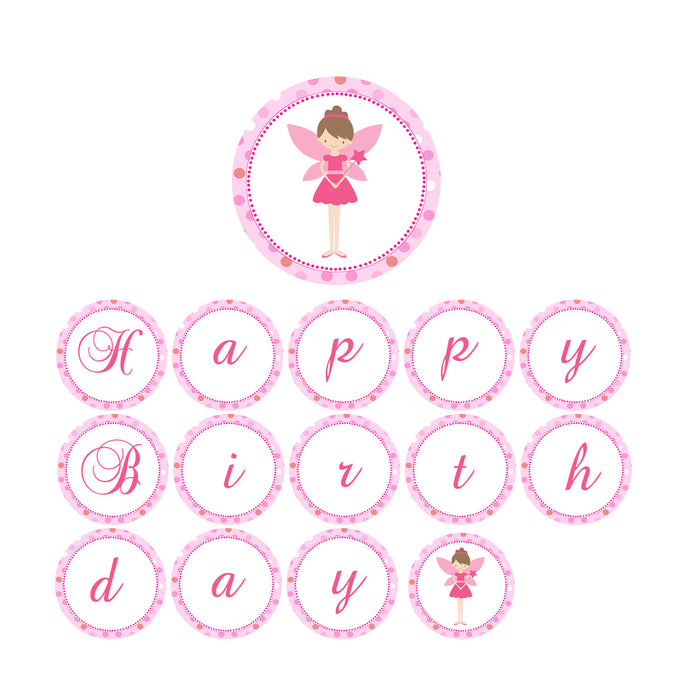 Fairy Birthday Banner Pink Polka Dots