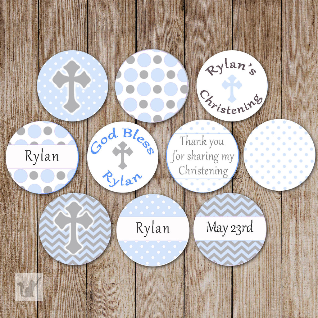 Blue Grey Small Candy Label Sticker Baptism Christening