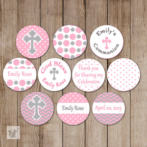 Pink Grey Baptism Christening Small Candy Label Sticker