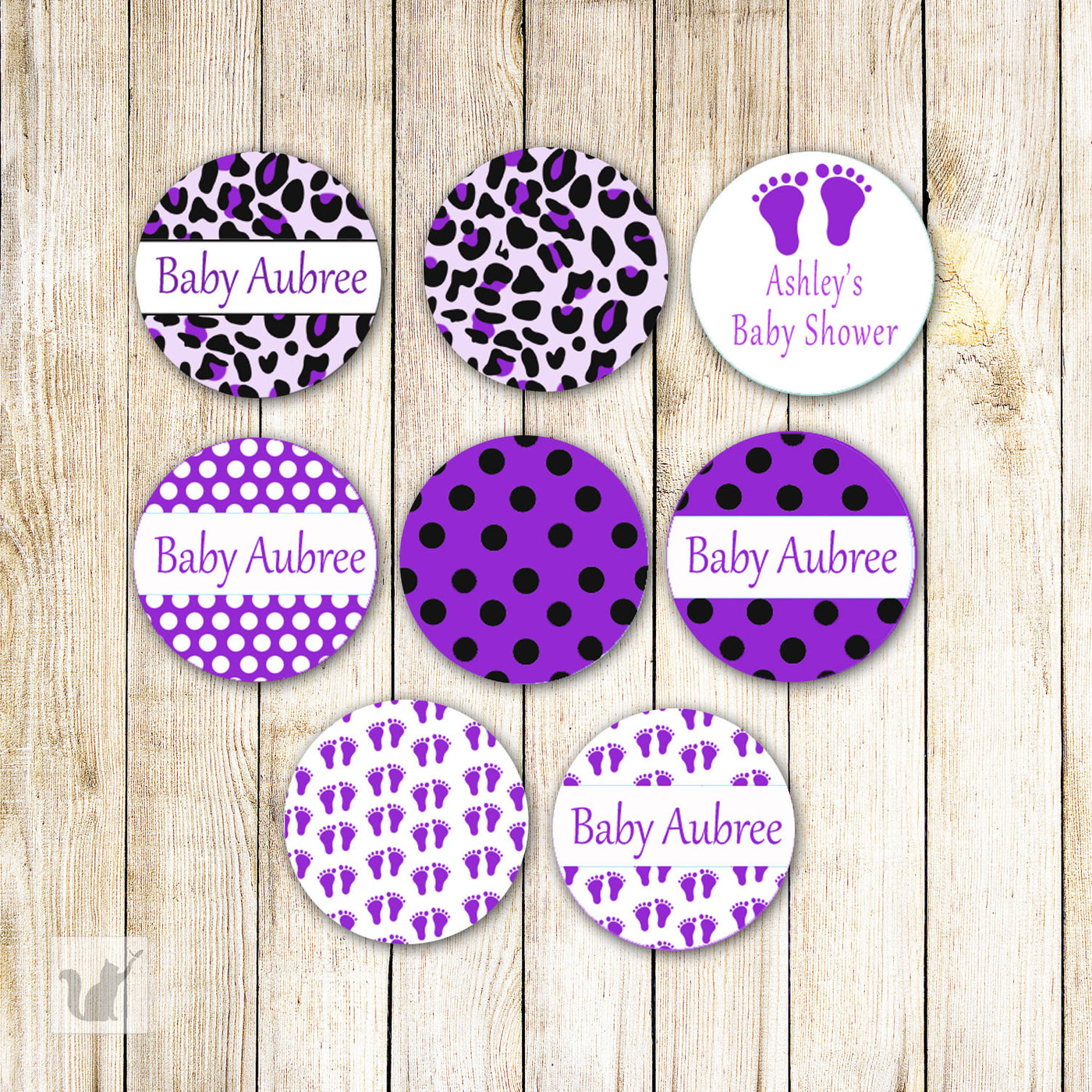Purple Leopard Baby Shower Small Candy Label Sticker Pink The Cat
