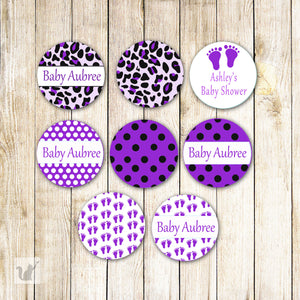 Purple Leopard Baby Shower Small Candy Label Sticker