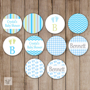Blue Green Small Candy Label Sticker Birthday Baby Shower